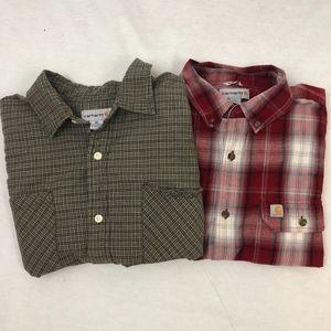 2-FOR-1 Carhartt Plaid LS Button Down Shirts -XL